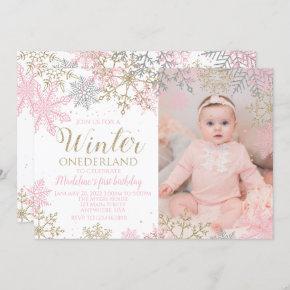 Winter ONEderland Snowflake Photo Invite