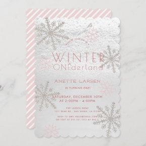 Winter Onederland Snowflake Pink 1st Birthday Invitation