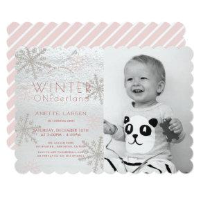 Winter Onederland Snowflake Pink Photo1st Birthday Invitation
