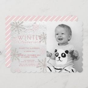 Winter Onederland Snowflake Pink Photo1st Birthday Invitation