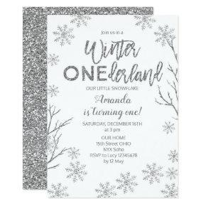 Winter ONEderland Snowflakes Birthday Invite