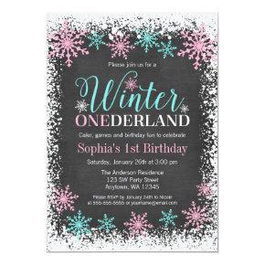 Winter ONEderland Teal Chalkboard 1st Birthday Invitations