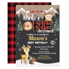 Winter Onederland woodland animal first birthday Invitation