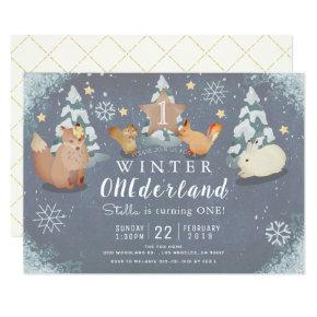 Winter Onederland Woodland Animals 1st Birthday Invitation