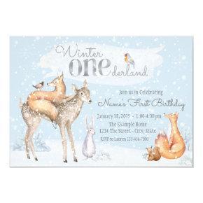Winter ONEderland Woodland Boy Girl First Birthday Invitation