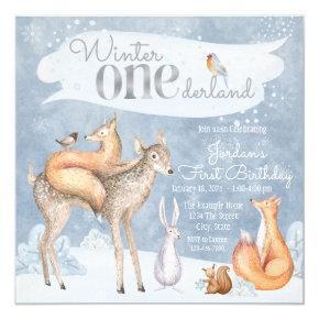 Winter Onederland Woodland First Birthday Party Invitation