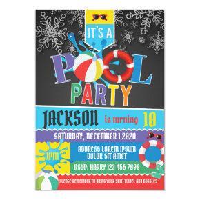 Winter Pool Party Birthday Invitation