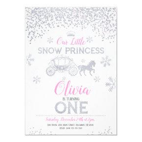 WInter Princess 1st Birthday Invitations Glitter