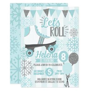 Winter Roller Skating Birthday Party Invitation