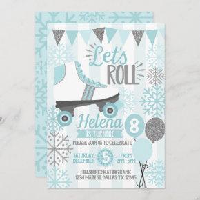 Winter Roller Skating Birthday Party Invitation