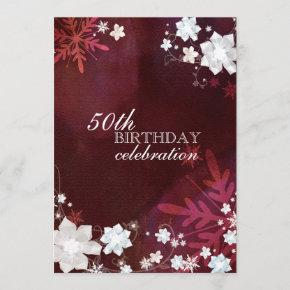 Winter Snow Flowers 50th Birthday Party Invitation