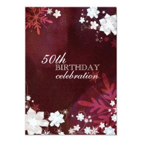 Winter Snow Flowers 50th Birthday Party Invitation