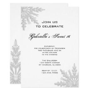 Winter Snowflakes Sweet 16 Birthday Party Invitations