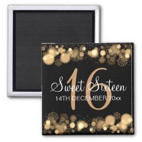 Winter Sweet 16 Birthday Party Gold Bokeh Lights Magnet