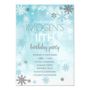 Winter themed birthday party invitation