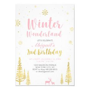 Winter Wonderland 2nd Birthday Invitations - Girl