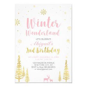 Winter Wonderland 2nd Birthday Invitations - Girl