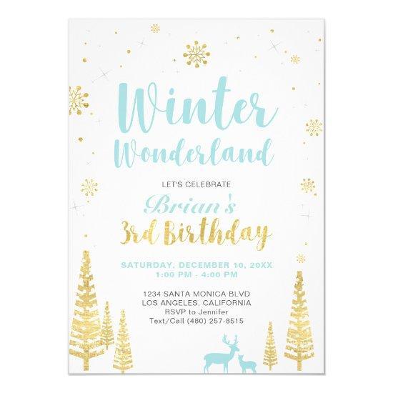 Winter Wonderland 3rd Birthday Invitation Boy Candied Clouds