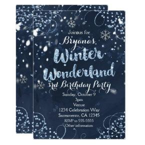 Winter Wonderland Blue Elegant Party Invitations