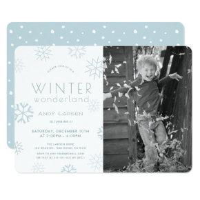 Winter Wonderland Blue Photo Birthday Invitation