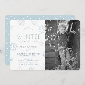 Winter Wonderland Blue Photo Birthday Invitation