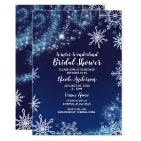 Winter Wonderland Blue & White Sparkle Snowflakes Invitation