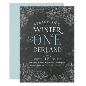 Winter Wonderland Chalkboard First Birthday Invite
