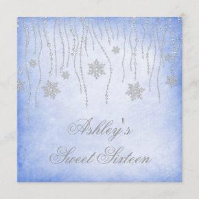 Winter Wonderland Diamond Snowflakes Sweet 16 Invitation