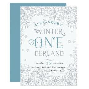 Winter Wonderland First Birthday Party Invitations