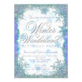 Winter Wonderland Frozen Birthday Party Invitation