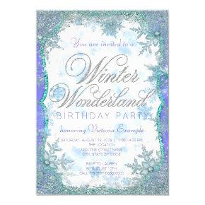 Winter Wonderland Frozen Birthday Party Invitations