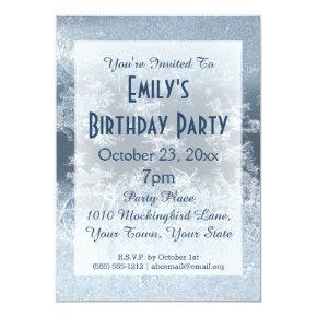 Winter Wonderland Frozen Frost Ice Birthday Party Invitation