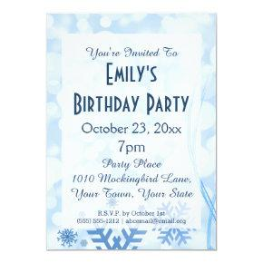 Winter Wonderland Frozen Frost Ice Birthday Party Invitations