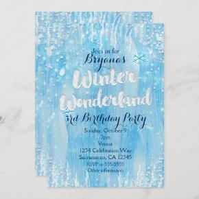 Winter Wonderland Frozen Ice Blue Party Invitation