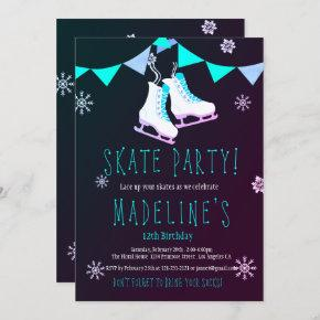 Winter Wonderland Ice Skate Girl Chalkboard Party Invitation
