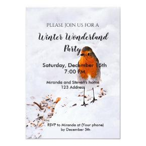 Winter wonderland party invite card robin in snow