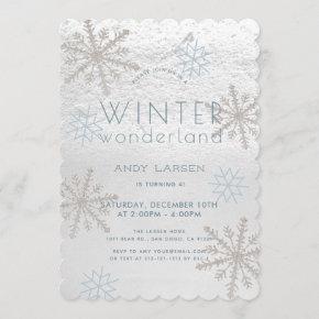 Winter Wonderland Snowflake Blue Birthday Invitation