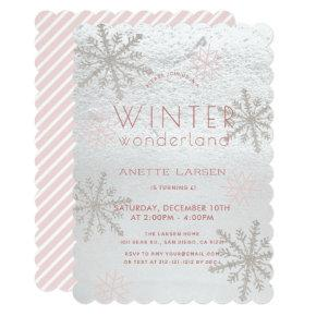 Winter Wonderland Snowflake Pink Girl Birthday Invitation