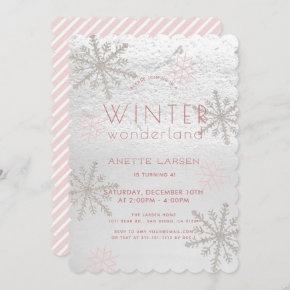 Winter Wonderland Snowflake Pink Girl Birthday Invitation