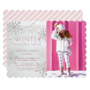 Winter Wonderland Snowflake Pink Photo Birthday Invitation