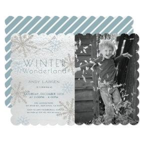 Winter Wonderland Snowflakke Blue Photo Birthday Invitation