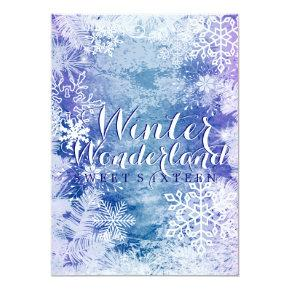 Winter Wonderland Theme Sweet Sixteen Birthday Invitation