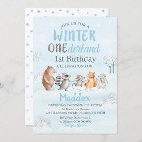 Winter Woodland 1st Birthday Invitation Winter