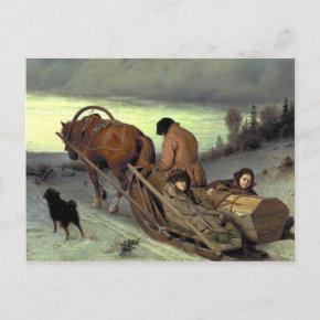 WINTER'S JOURNEY VASILY PEROV art Invitation Post