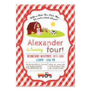 WITH AN OINK, BAA, CLUCK, MOO FARM BIRTHDAY PARTY Invitations