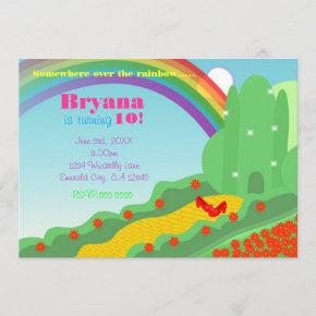 Wizard of OZ Emerald City Slippers Birthday Party Invitation