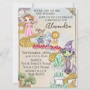 Wizard of Oz Illustrated Fairy Tale Theme Invitation