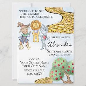 Wizard of Oz Theme Cute Illustrated Story Invitation