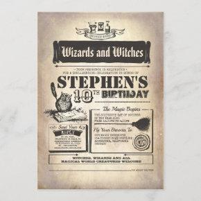 Wizards Witches and Magical Creatures Birthday Invitation