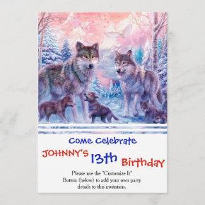 Wolf painting - arctic wolf - grey wolf invitation